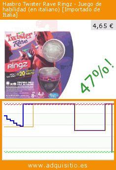 Hasbro Twister Rave Ringz - Juego de habilidad (en italiano) [Importado de Italia] (Juego). Baja 47%! Precio actual 4,65 €, el precio anterior fue de 8,83 €. https://www.adquisitio.es/hasbro/twister-rave-ringz-juego
