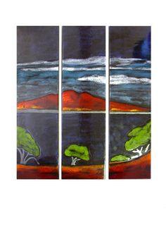 Wall Panels Rangitoto Series - set of 3 Handmade Pottery, Terracotta, Ceramics, Sculpture, Kiwi, Painting, Garden, Wall, Ceramica
