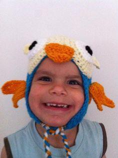 Free pattern for Hoot the Owl Hat. Hoot is a very popular puppet character on Australian TV channel ABC for Kids Hoot Hat Cute Crochet, Crochet For Kids, Knit Crochet, Crochet Hats, Crochet Designs, Crochet Patterns, Crochet Character Hats, Abc For Kids, Owl Hat