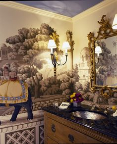 Ruthie Sommers chinoiserie wallpaper powder room vanity painted ceiling bathroom
