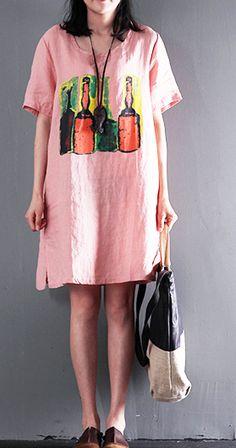 15ab41e66c Pink loving beers print linen summer dress plus size causal sundress Linen  Dresses, Cotton Dresses