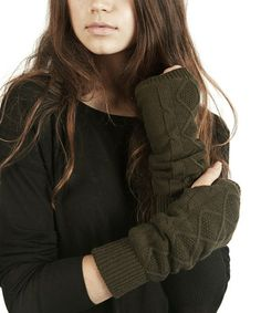 Look what I found on #zulily! Olive Green Fleece-Lined Arm Warmers by Plush #zulilyfinds