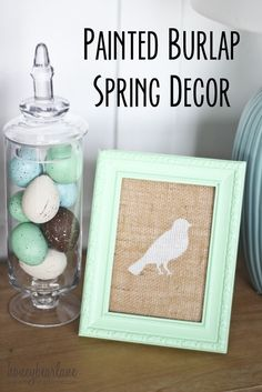 painted burlap spring decor