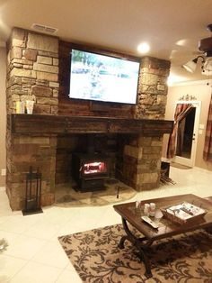 Wood stove with stone surround