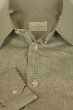 Ermenegildo Zegna $395 Gray & Beige Check Cotton Casual Shirt 15.5 x 35 #ErmenegildoZegna