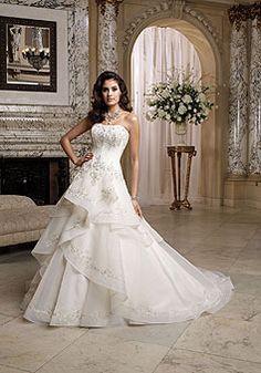 Ruffles Organza Chapel Train Embroidery Strapless Wedding Dress