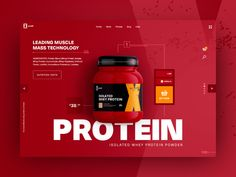 Whey Protein E-commerce UI gradients ui design ecommerce ui web ecommerce nutrition health supplement x-ariafit fitness muscle mass muscle protein bright red supplement whey protein e-commerce ecommerce ui ux Greek Yogurt Protein, Whey Protein, Muscle Protein, Ui Ux Design, Page Design, Design Agency, Graphic Design, Ui Design Inspiration, Ui Web
