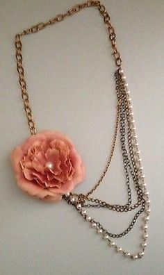 Topshop Pearl Flower Chunky Necklace 1920's | eBay