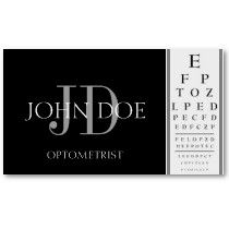 Optometrist Chart Black Business Cards by bizcards4u