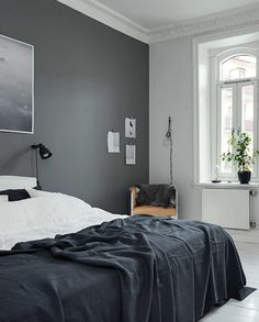 'Minimal Interior Design Inspiration' is a weekly showcase of some of the most perfectly minimal interior design examples that we've found around the web - all Interior Design Examples, Interior Design Minimalist, Interior Design Inspiration, Design Ideas, Gray Bedroom Walls, Calm Bedroom, Master Bedroom, Bedroom Black, Dark Grey Walls