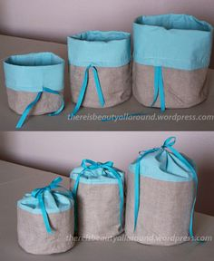 Fabric Baskets Tutorial Fabric Bags – make a tall thin one for a flask cover with a batting lining Sewing Hacks, Sewing Tutorials, Sewing Crafts, Sewing Projects, Sewing Patterns, Sewing Tips, Purse Patterns, Diy Projects, Fabric Boxes