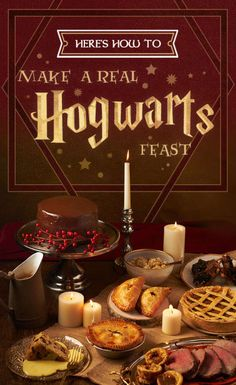 "Check our very own guide to creating a Hogwart's-style feast, including recipes for pumpkin pasties, treacle tarts, roast beef with Yorkshire pudding and (of course) Butterbeer. 34 Magical Ideas For The Ultimate ""Harry Potter"" Party Harry Potter Marathon, Harry Potter Motto Party, Harry Potter Fiesta, Harry Potter Bday, Mundo Harry Potter, Harry Potter Wedding, Harry Potter Recipes, Harry Potter Parties, Harry Potter Desserts"