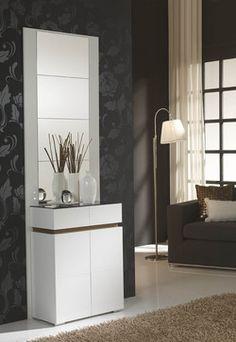 Meuble d'entrée avec meuble à chaussures VENUS coloris blanc et noyer
