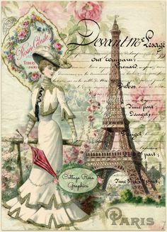 Paris in the Summer digital image download от CottageRoseGraphics