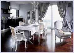 Gray and silver curtains