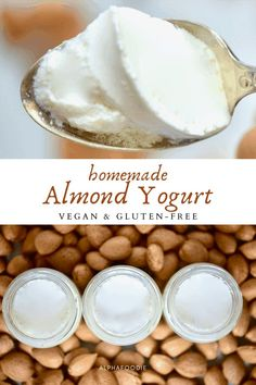 A simple Homemade Almond Yogurt made using just four ingredients and a super simple method- for a thick, creamy dairy-free yogurt Almond Milk Yogurt, Make Almond Milk, Homemade Almond Milk, Vegan Yogurt, Healthy Yogurt, Healthy Food, Vegetarian Snacks, Vegan Food, Homemade Yogurt Recipes