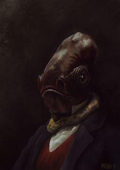 Admiral ackbar strikes again! Animal Heads, Animal Faces, Like A Sir, Admiral Ackbar, Night Circus, Magic Realism, Star Wars Characters, Sci Fi Art, Illustration Art