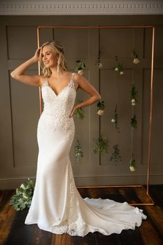 On the shoulder wedding dress with beaded lace appliqués, fit & flare slim crepe skirt with wide lace godets and an illusion back. Crepe Skirts, Crepe Dress, Designer Wedding Dresses, Bridal Dresses, True Bride, Beaded Lace, Fit And Flare, Wedding Day, Lace Wedding