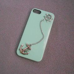 Iphone 5 case,studded iphone 4 case,Vintage Silver Rudder and Anchor iphone case,studded iphone 5 case,Mint green Hard Cover Iphone 5 Case on Etsy, $1.95