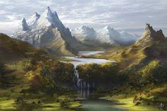 On a Clear Day by jjpeabody on DeviantArt Fantasy Art Landscapes, Landscape Artwork, Fantasy Landscape, Fantasy Artwork, Fantasy Places, Fantasy World, Memes Arte, Medieval World, Fantasy Setting
