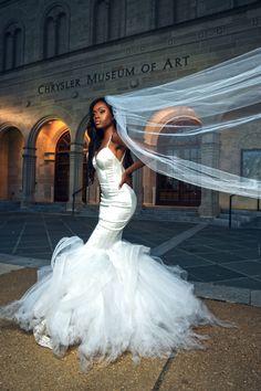 Bridal Bliss: Sydnisha and Johnathan's Black-Tie Wedding Was A Work Of Art - Essence Black Bride, Black Tie Wedding, Black Wedding Dresses, Black Weddings, Reception Dresses, Wedding Looks, Wedding Bride, Ghana Wedding, Sheath Wedding Gown
