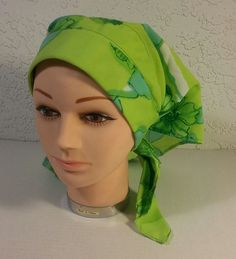 Vintage Green Floral Ladies Head Scarf Wrap Bandana Retro Lightweight Rollers #Nobrand