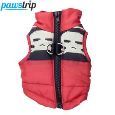Red Skull Pattern Dog Vest Winter Small Dog Clothes Chihuahua Puppy Jacket Coat