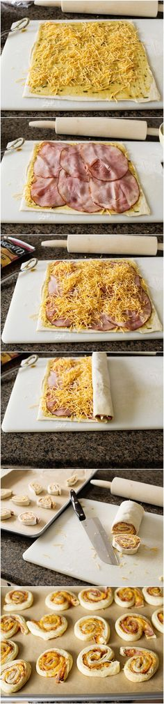 Ham Cheddar and Rosemary Pinwheels