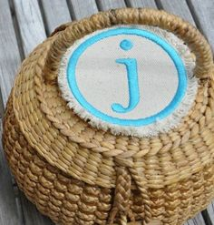 This cute little round basket with a monogrammed patch on the lid is the perfect container for all sorts of odds and ends! Round Basket, Straw Handbags, Sewing Kit, Learn To Sew, Monogram Letters, Straw Bag, Best Gifts, Alice, Patches