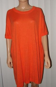 COS DIRECTLY FROM PARIS SIZE M ORANGE TUNIC DRESS TOP COTTON KNIT OVERSIZED  #COS #Tunic
