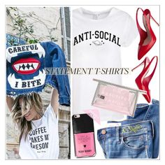 """""""Say What: Statement T-Shirts"""" by teoecar ❤ liked on Polyvore featuring Madewell, Miu Miu, statementtshirt and YeahBunny"""