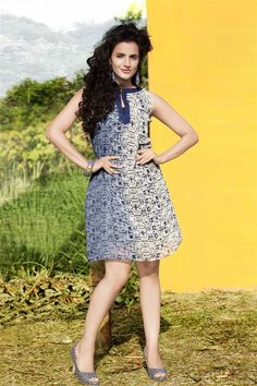 Elegant Blue, Grey Georgette Stylish Kurti