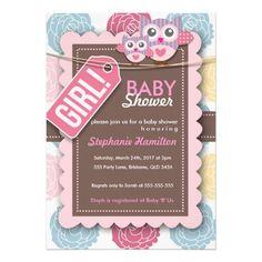Custom colorful pink owl flower baby shower invite for girl