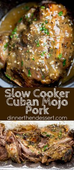 Slow Cooker Cuban Mojo Pork made with citrus, garlic, oregano and cumin takes al. - Slow Cooker Cuban Mojo Pork made with citrus, garlic, oregano and cumin takes almost no prep time a - Crock Pot Recipes, Easy Soup Recipes, Cooking Recipes, Crock Pots, Cooking Tips, Diet Recipes, Chicken Recipes, Cooking Kale, Cooking Steak