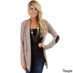 Lyss Loo Women's Cardigan with PU Leather Elbow Patch | Overstock.com