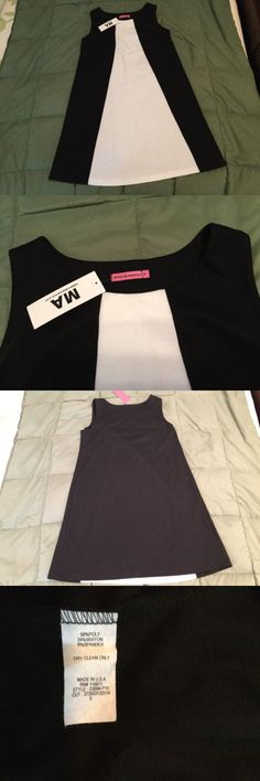 Dresses 11534: New Maternal America Black White Colorblocked Shift Dress, Size Small -> BUY IT NOW ONLY: $30 on eBay!