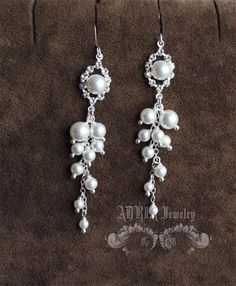 Pearl Bridal Jewelry Set Beaded White Swarovski by adriajewelry