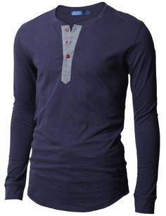 Doublju Mens Casual Long Sleeve Henley Shirts