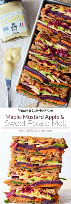 MapleMustard Apple Sweet Potato Melt Vegan EasytoMake recipe This vegan sandwich is easy colorful and it makes a delicious vegan lunch or an easy vegan dinner Click f. Vegan Lunch Recipes, Vegan Lunches, Vegan Foods, Vegan Dishes, Healthy Recipes, Lunch Ideas Vegan, Vegan Lunch Healthy, Scd Recipes, Easy Vegetarian Lunch