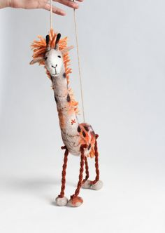 Gerbera  Felt Giraffe. Art Puppet Marionette  by TwoSadDonkeys