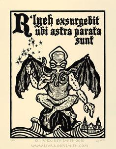 Cthulhu Necronomicon woodcut print