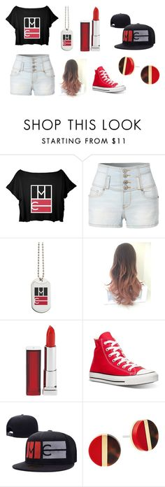 """""""Jay's Outfit"""" by jayden-r ❤ liked on Polyvore featuring LE3NO, Maybelline, Converse and Michael Kors"""