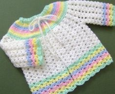 crochet baby sweaters free patterns | ... in time for spring this adorable white sweater sacque is trimmed with