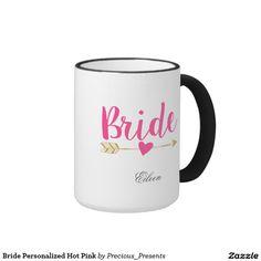 Bride Personalized Hot Pink Ringer Mug