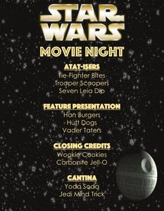 Star Wars Menu Disney Family Movie Night May the Fourth Be With you – Family Movies Miracle Movie Night For Kids, Dinner And A Movie, Family Movie Night, Disney Dinner, Disney Day, Disney Food, Disney Family Movies, Star Wars Food, Dinner Themes