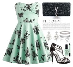 """Mint Printed Dress 1654"" by boxthoughts ❤ liked on Polyvore featuring Lauren B. Beauty, Yves Saint Laurent, Caparros, Oscar de la Renta, Monica Vinader, Tiffany & Co. and shu uemura"