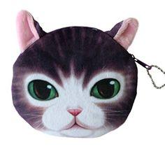 Flauschiger Kindergeldbeutel / Kinderportemonnaie / Münzbeutel / Schlüsseltasche mit süßem Katzenmotiv inkl. Katzenohren (Reissverschluss) (Violett-Weiß)