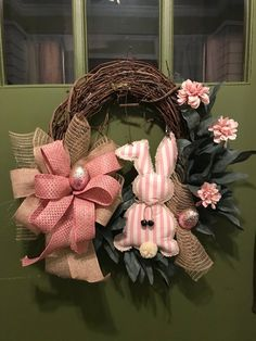 Pink and burlap bunny with Flower Accents Elegant All Season Grapevine Wreath for Door. Wreaths, wreaths for front door, farmhouse, by DesignsbyDebbyOhio on Etsy Diy Wreath, Grapevine Wreath, Burlap Wreath, Easter Wreaths, Holiday Wreaths, Spring Wreaths, Wreaths For Front Door, Door Wreaths, Lapin Art