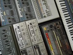 A collection of some Roland classics including the legendary TR-808.  http://www.roland.co.uk/blog/planet-rock-and-other-tales-of-the-tr-808
