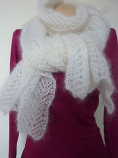 Lace knit scarf (tutorial) - marie Bruyant - - Echarpe en tricot dentelle (tuto) mohair and silk scarf - Crochet Shawl, Crochet Yarn, Crochet Pattern, Crochet Slippers, Easy Crochet, Free Pattern, Easy Knitting, Knitting For Beginners, Scarf Tutorial